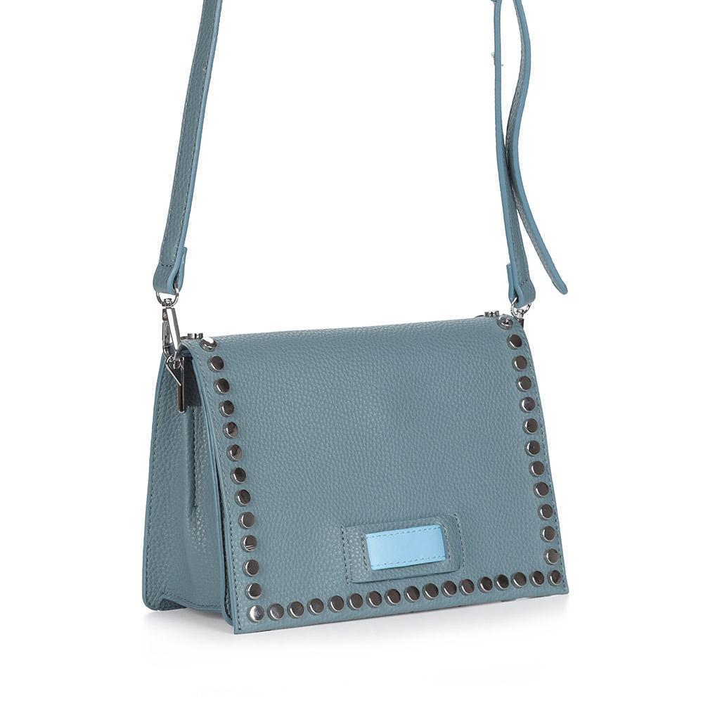 Голубая сумка с декором на плечо
