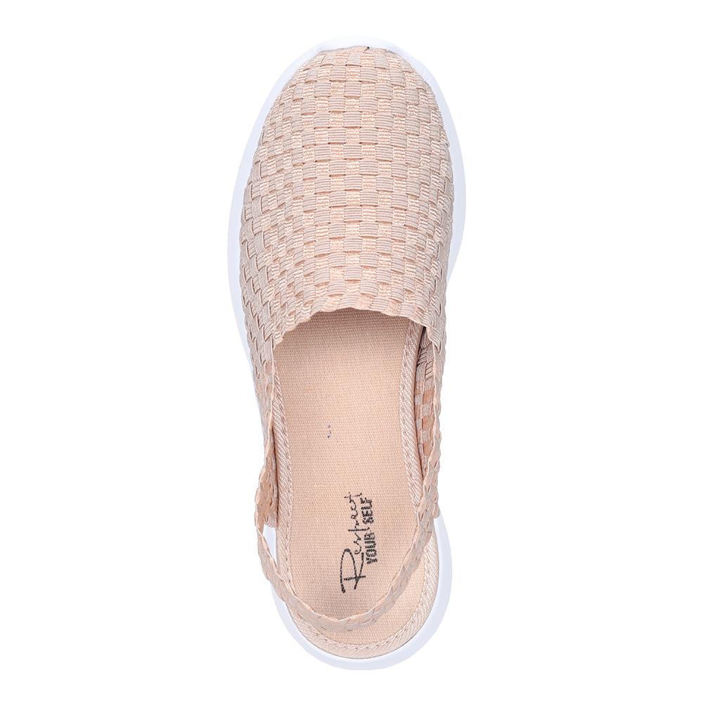 Бежевые текстильные открытые туфли3