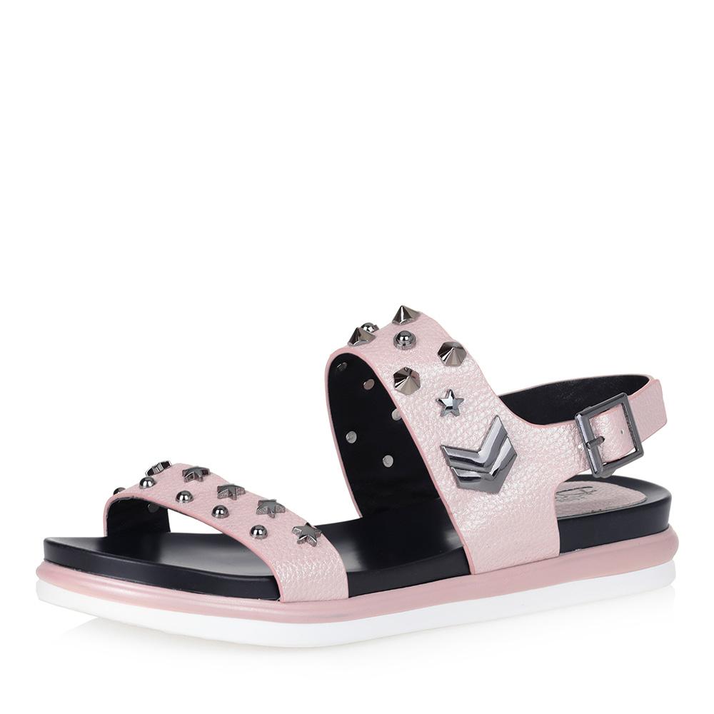 Розовые комфортные сандалии с декором фото