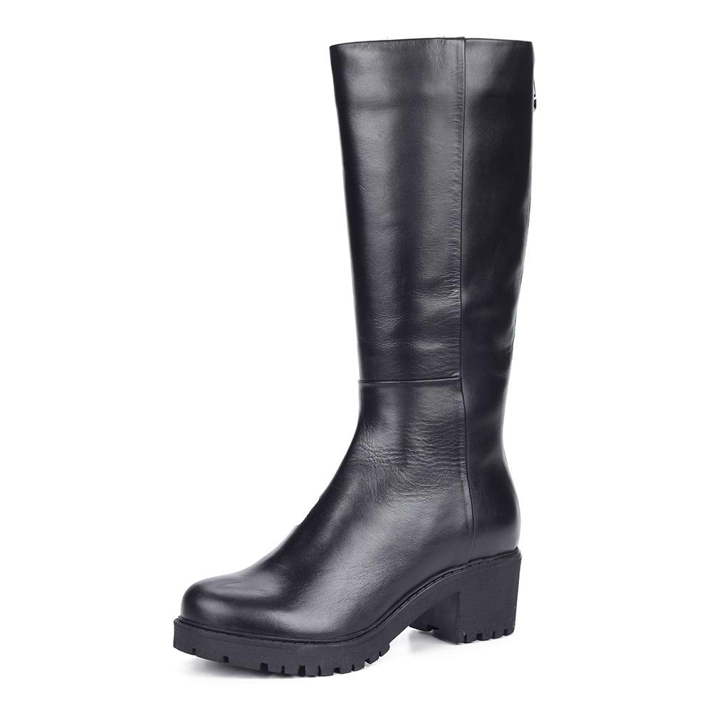 Черные кожаные сапоги на каблуке из кожи