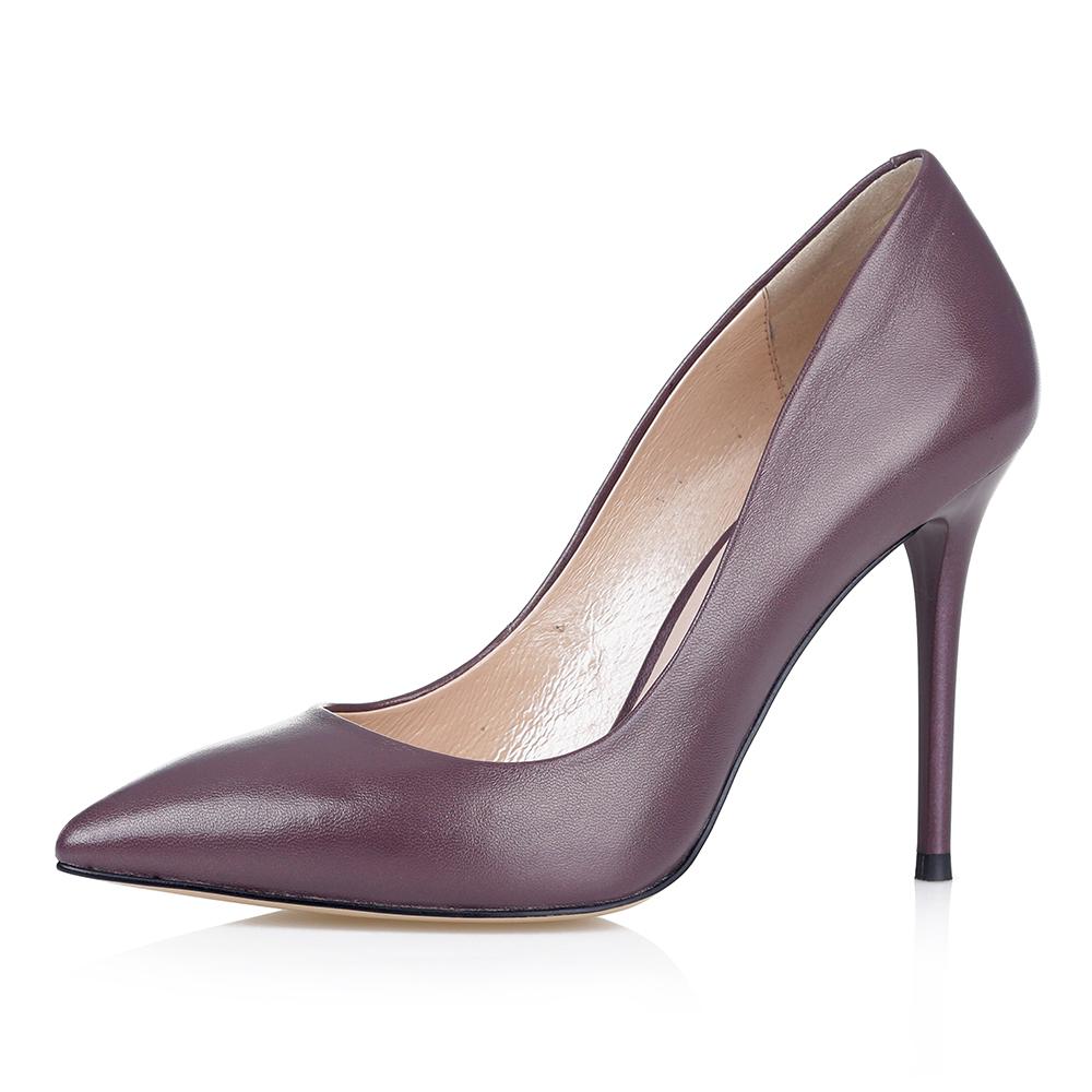 Купить со скидкой Кожаные туфли-лодочки в фиолетовом цвете