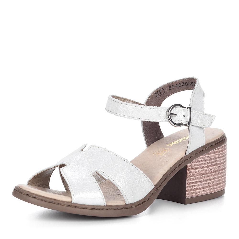 Белые босоножки из кожи на каблуке