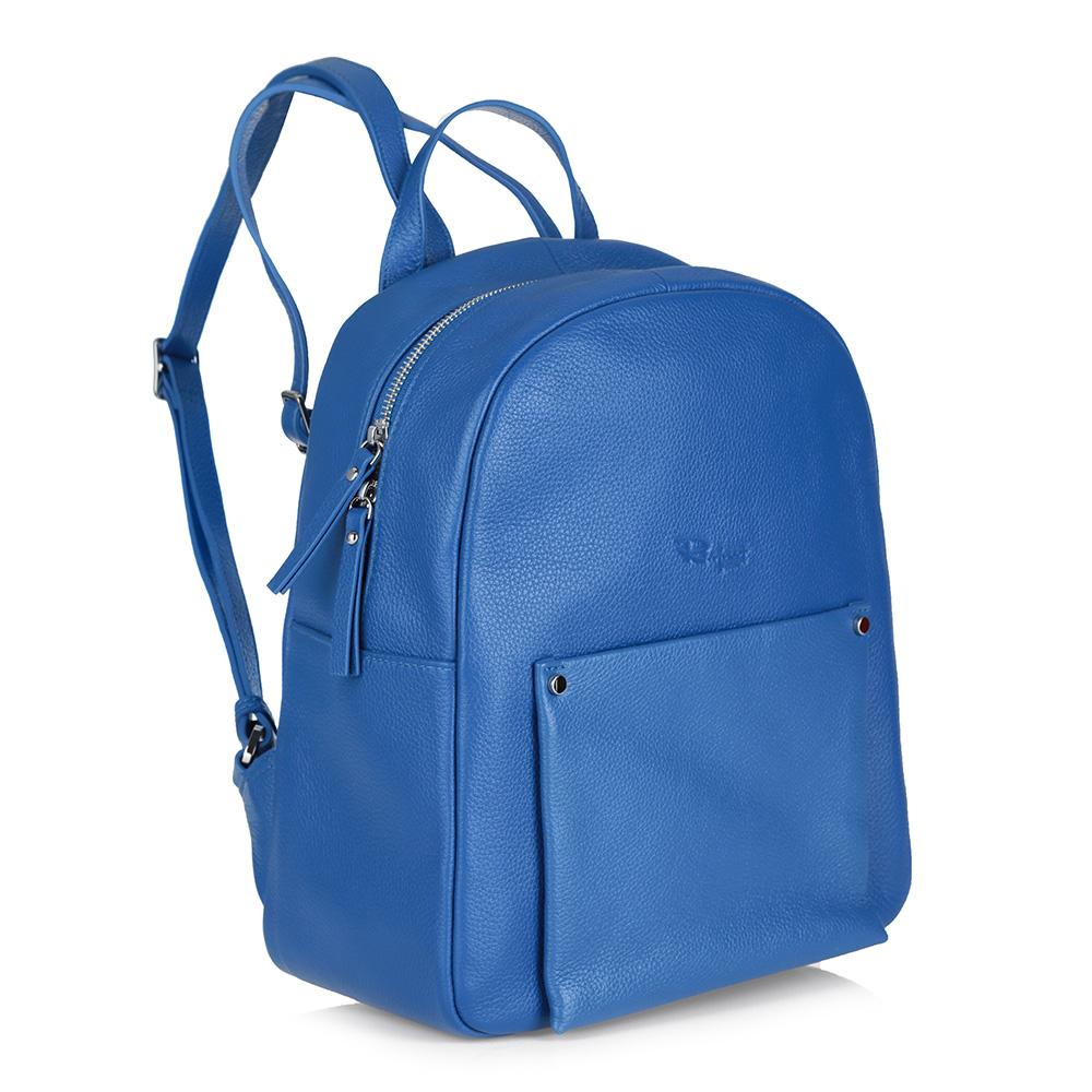 Синий рюкзак из кожи фото