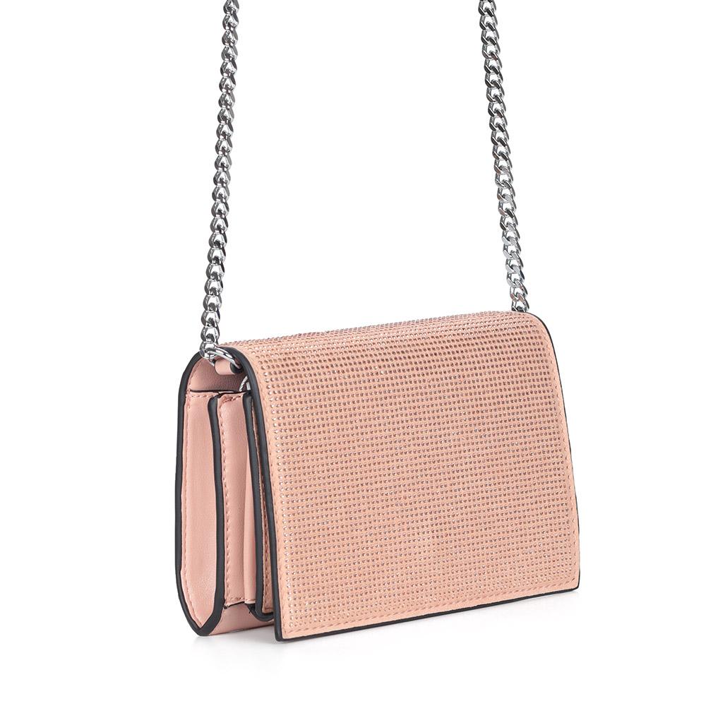 Розовый клатч на цепочке