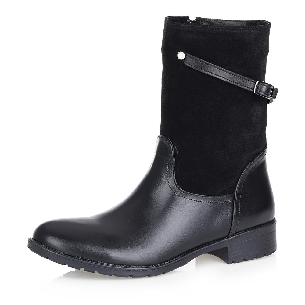 Черные кожаные ботинки на меху