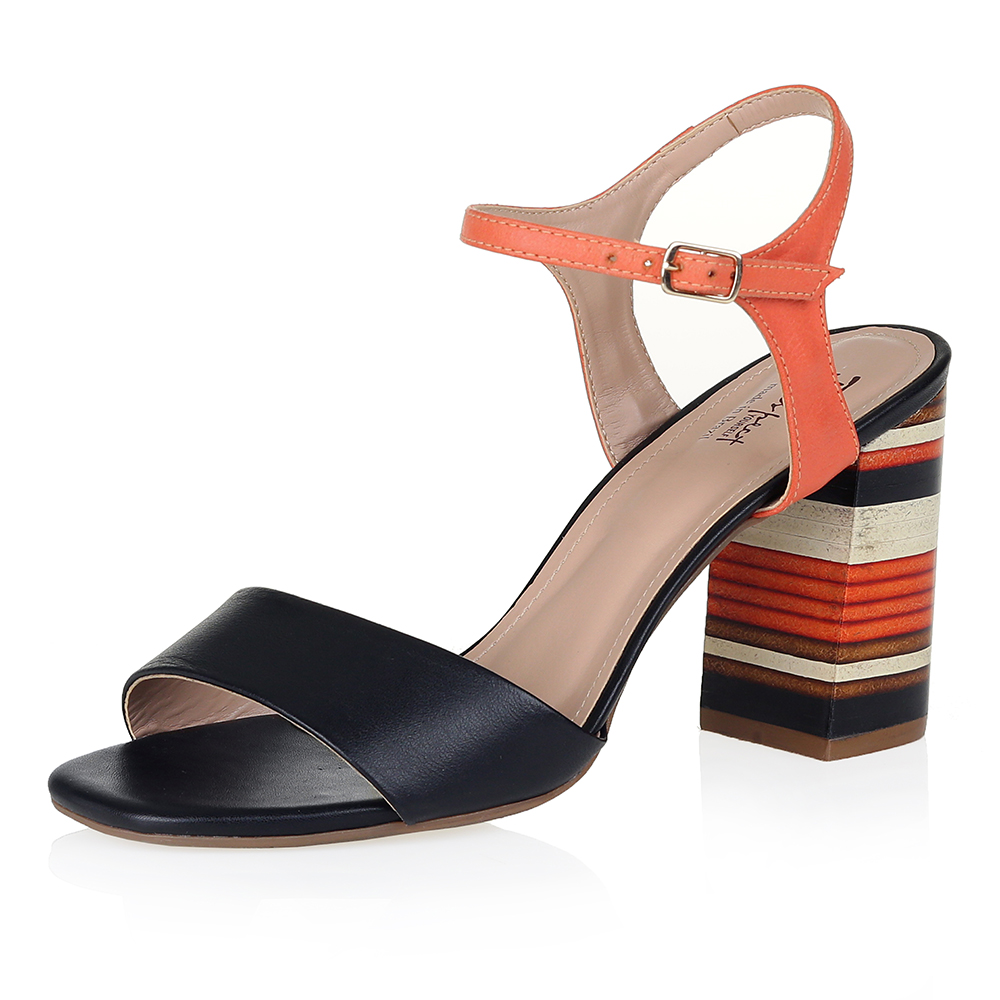 Чёрно-оранжевые босоножки на принтованном каблуке Respect