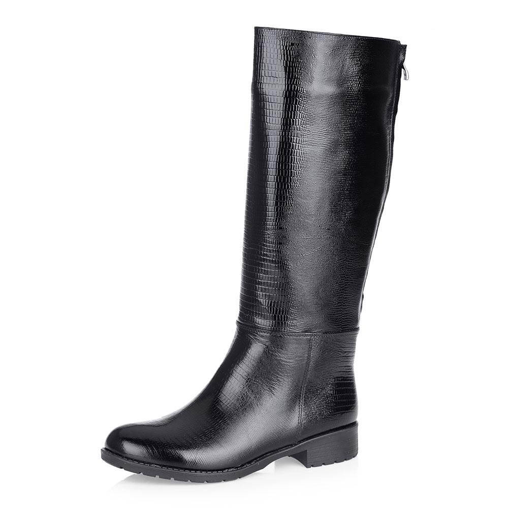 Черные кожаные сапоги на меху