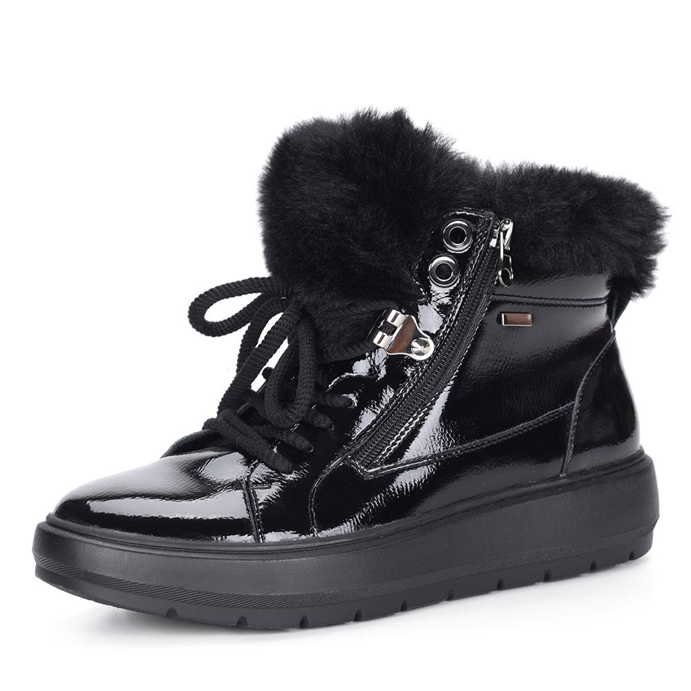 Черные ботинки из лака с опушкой