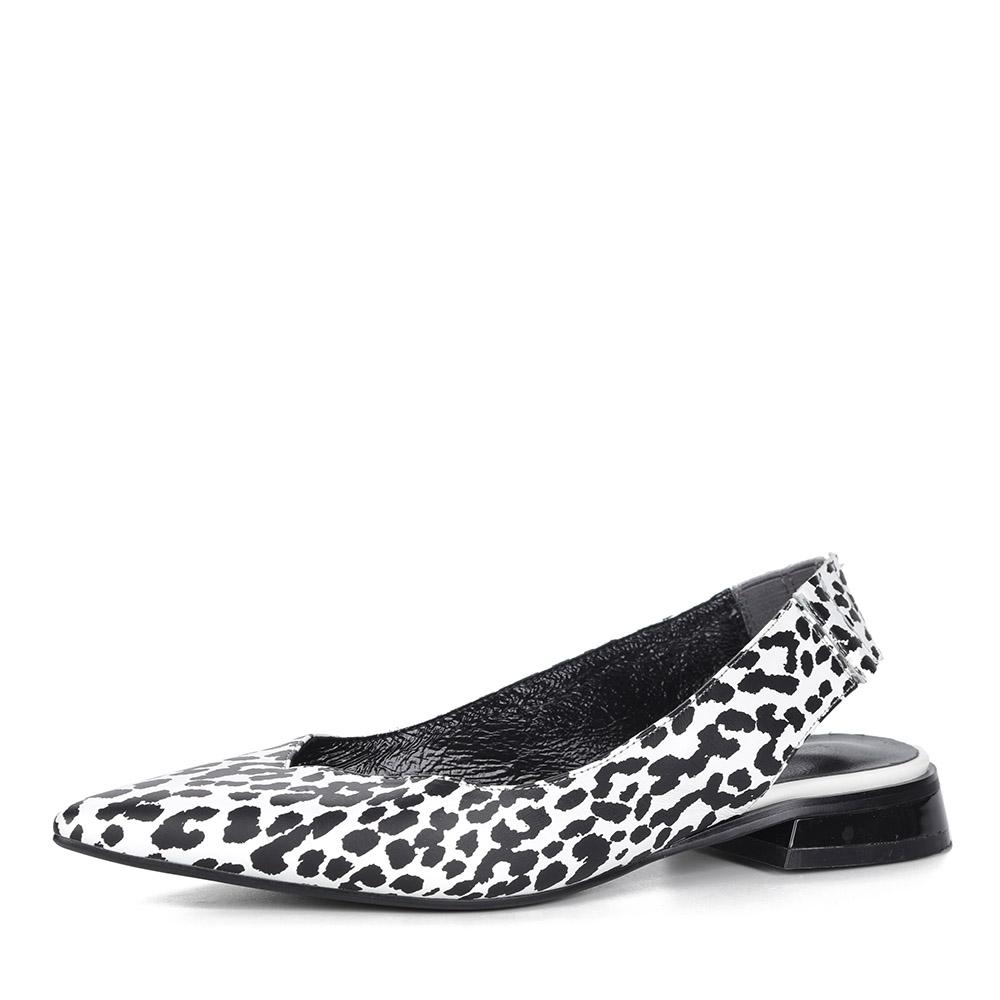 Белые открытые туфли с анималистичным принтом