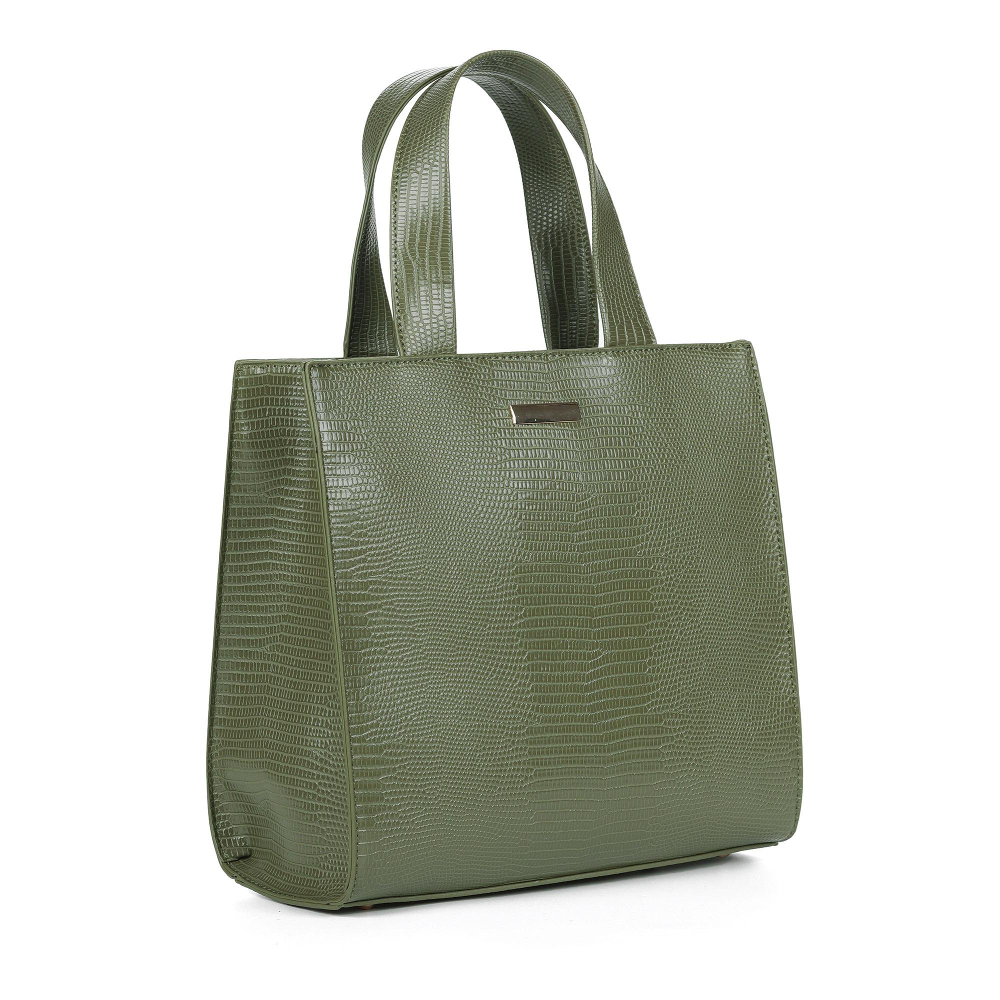 Зеленая сумка шоппер с тиснением под рептилию