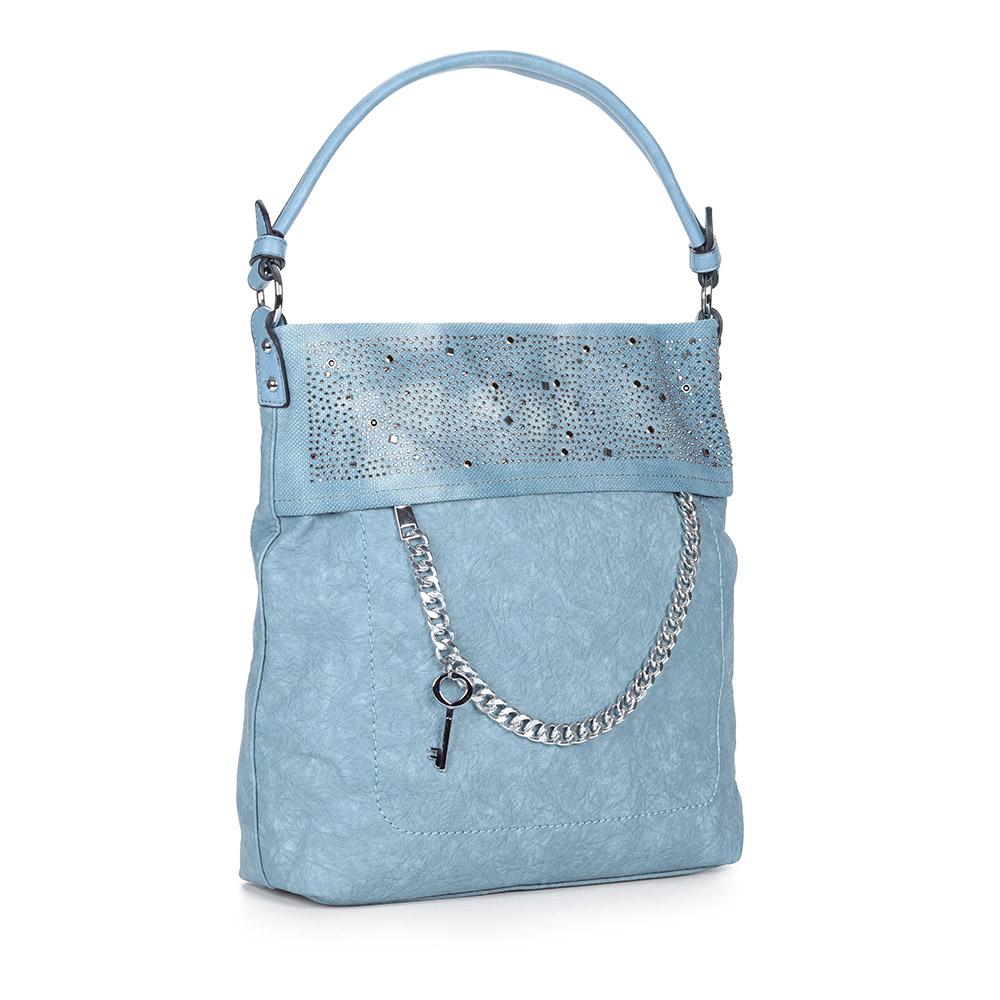 Голубая сумка с декором