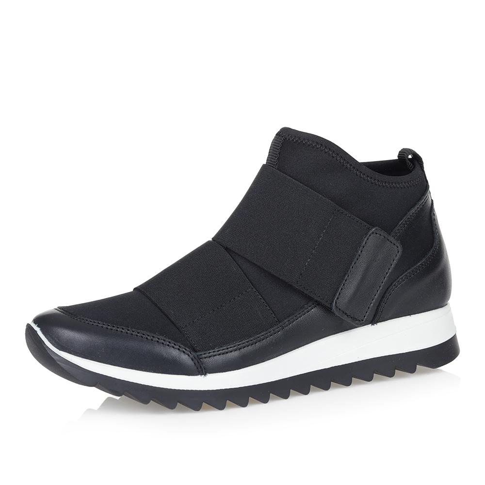 Фото 37 - Комбинированные кроссовки из кожи и текстиля чёрного цвета цвет чер.