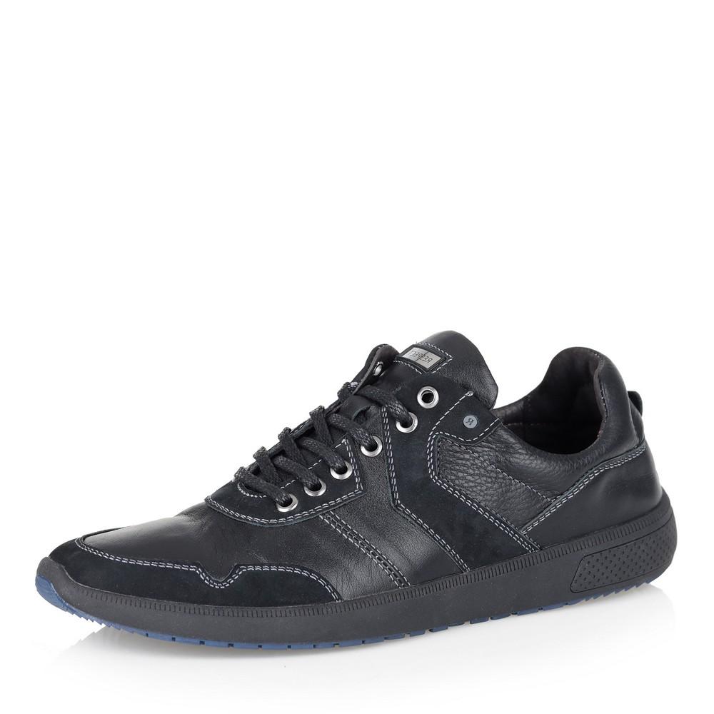 Купить со скидкой Черные кожаные кроссовки