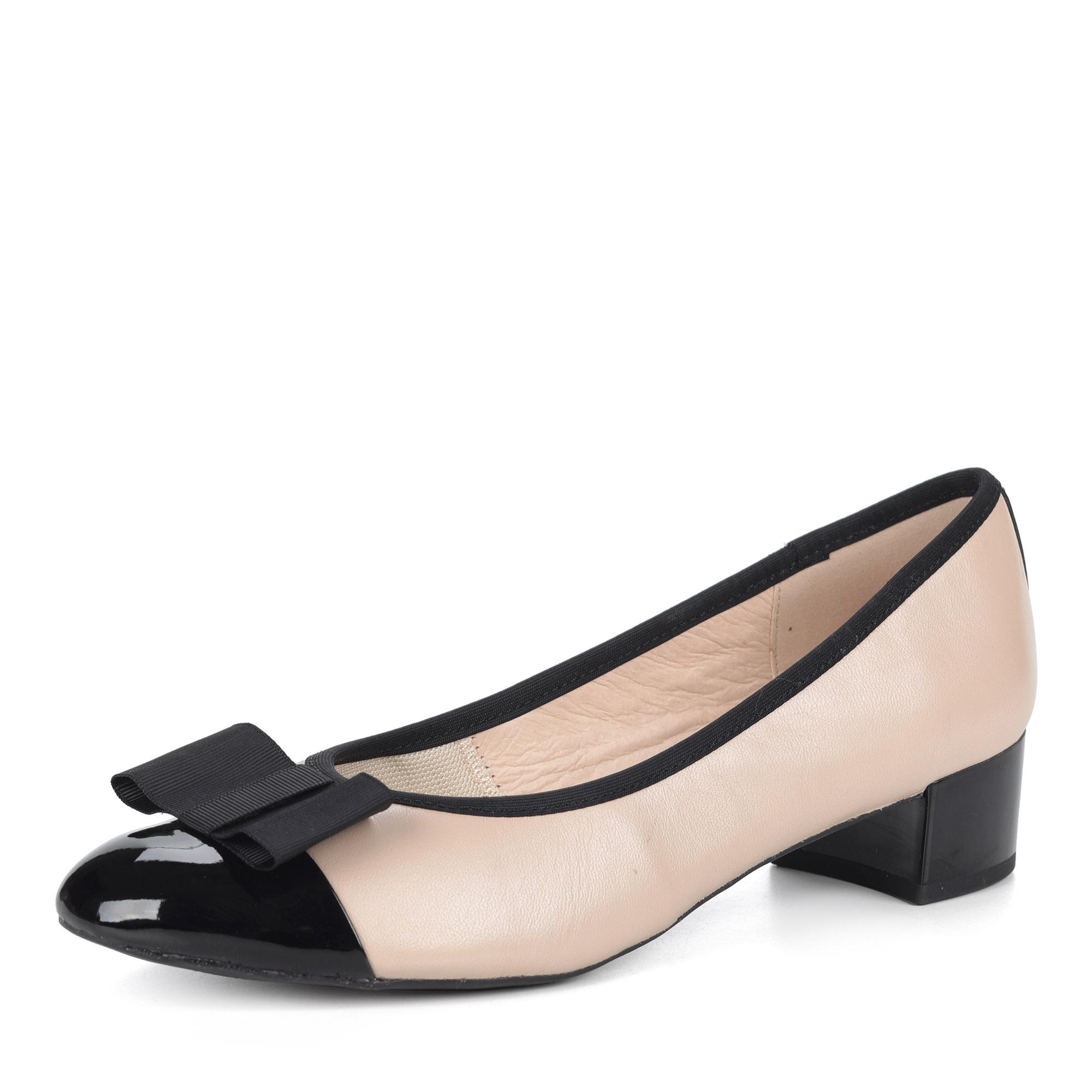 Черно-бежевые туфли из кожи с бантом
