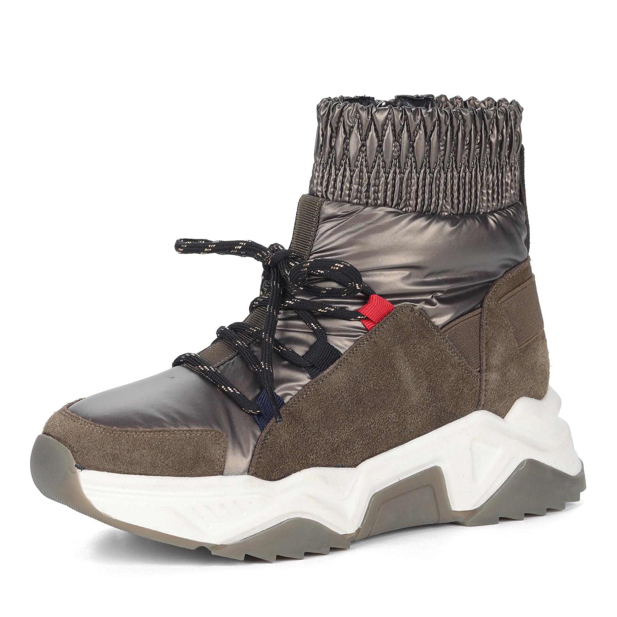 Ботинки из комбинированных материалов на утолщенной подошве