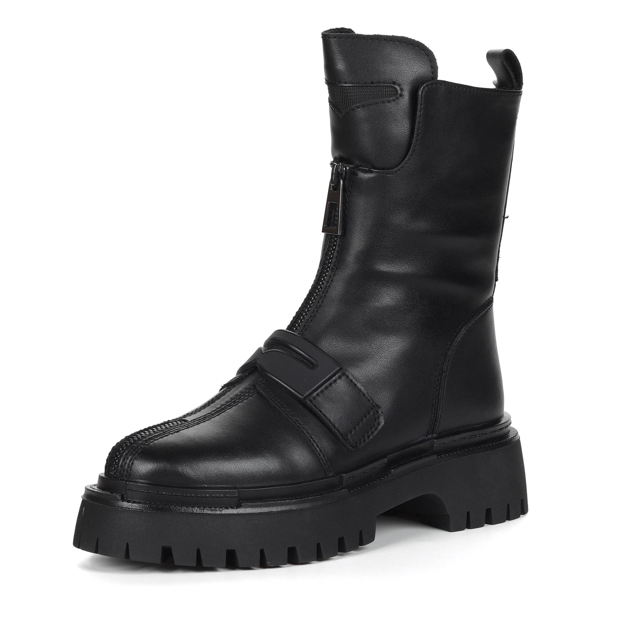Черные ботинки милитари из кожи на утолщенной рифленой подошве на подкладке из натуральной шерсти