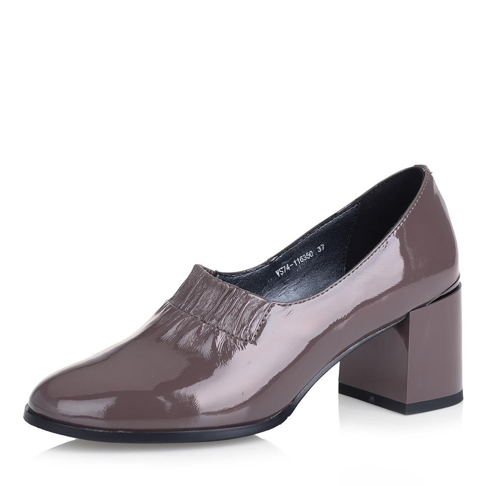 Темно-бежевые лакированные туфли фото