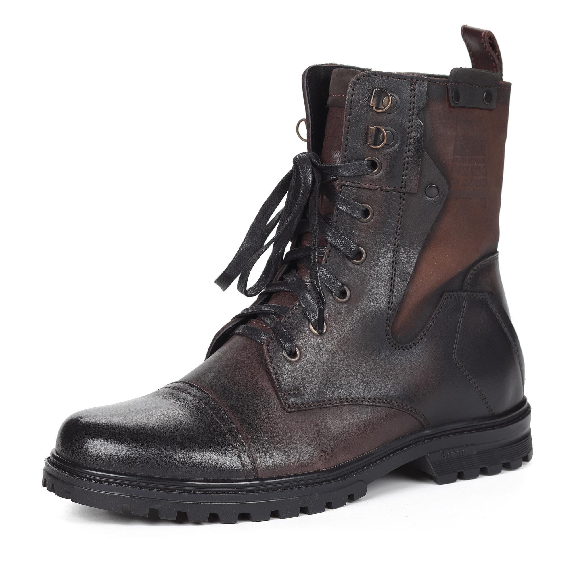 Коричневые ботинки из кожи на шерсти