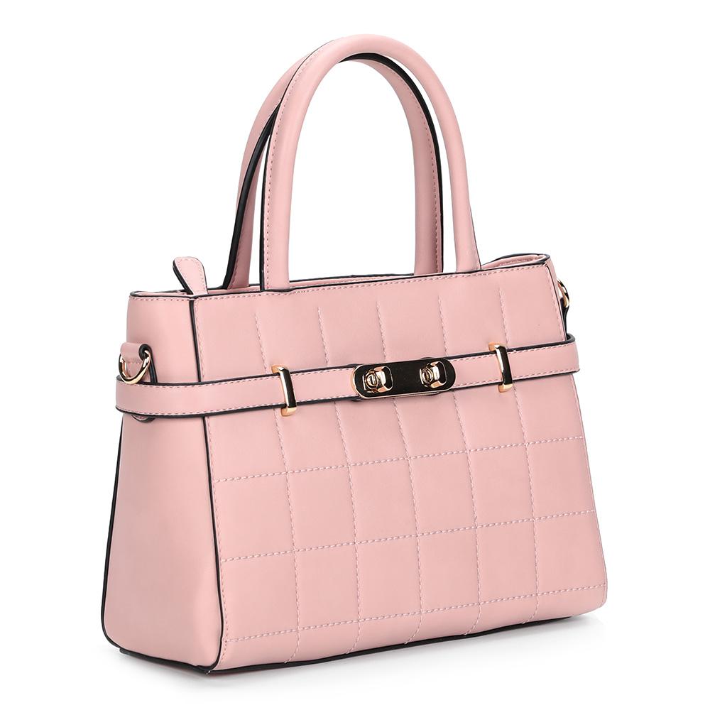 Розовая классическая сумка с жесткой основой фото