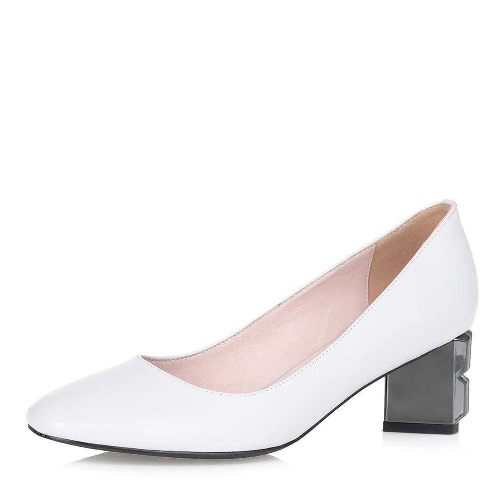 Белые туфли-лодочки на фигурном каблуке фото