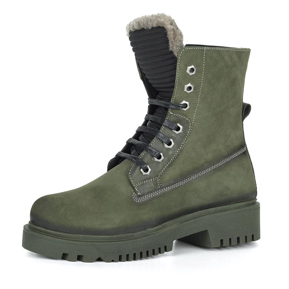 Зеленые ботинки из нубука на шнуровке