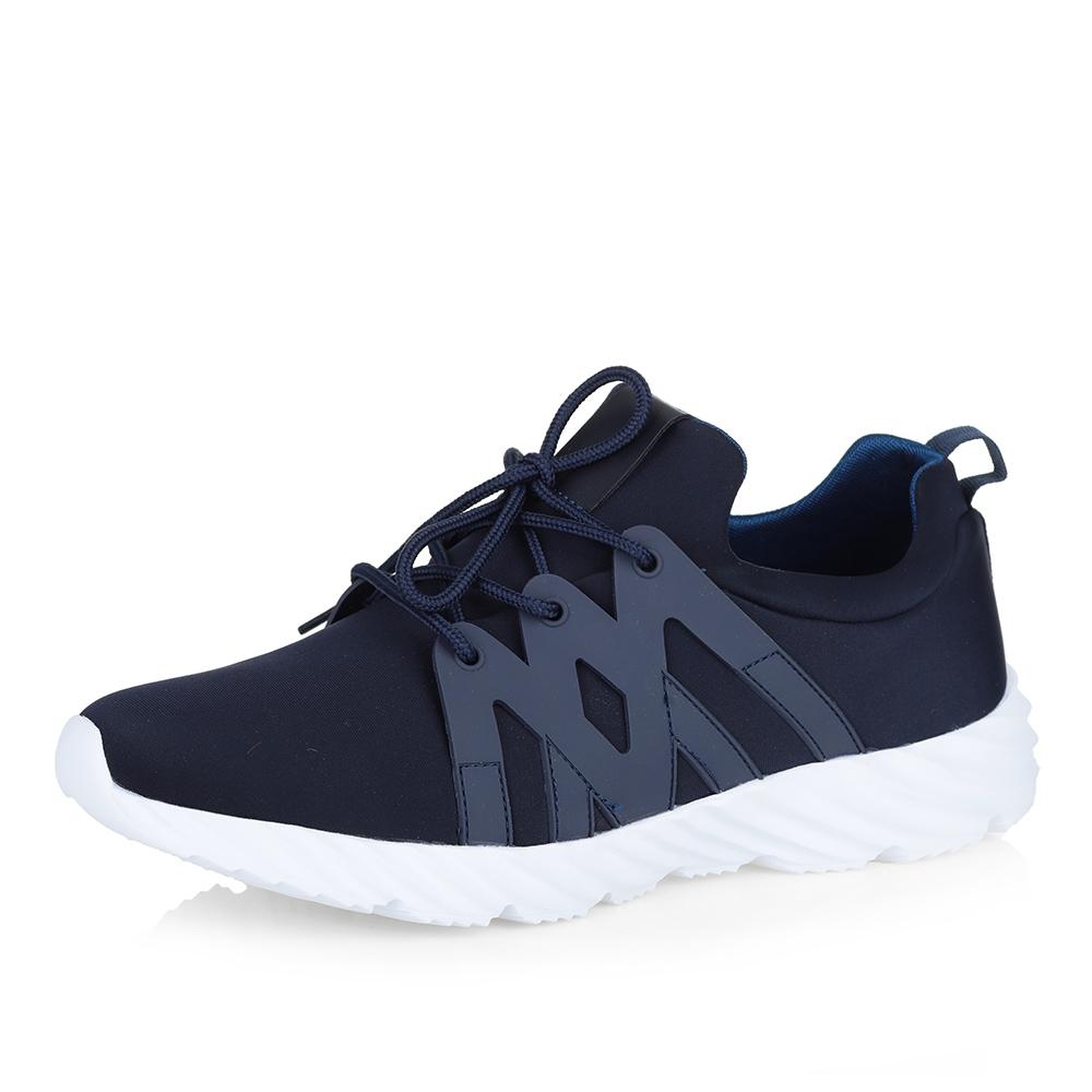 Купить со скидкой Синие кроссовки на белой подошве