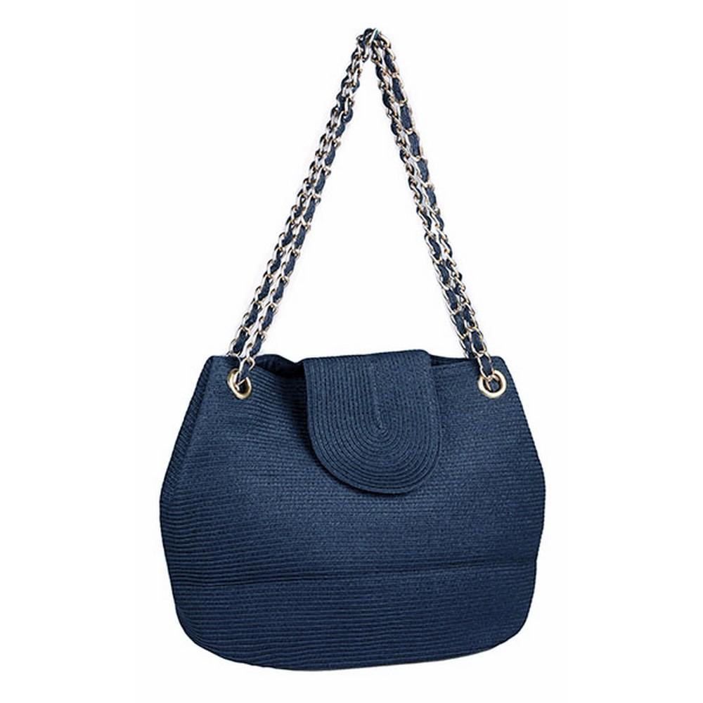 Синяя пляжная сумка с золотой фурнитурой фото