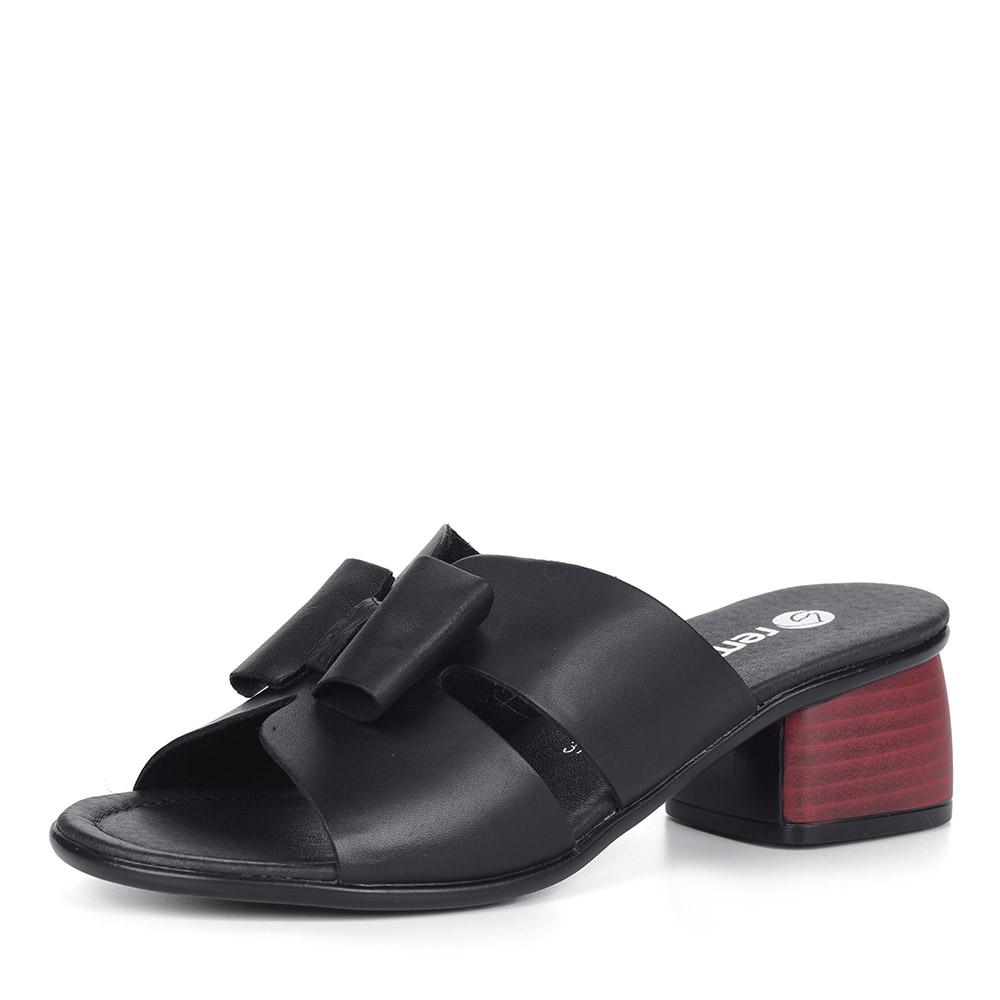 Черные сабо из кожи на каблуке