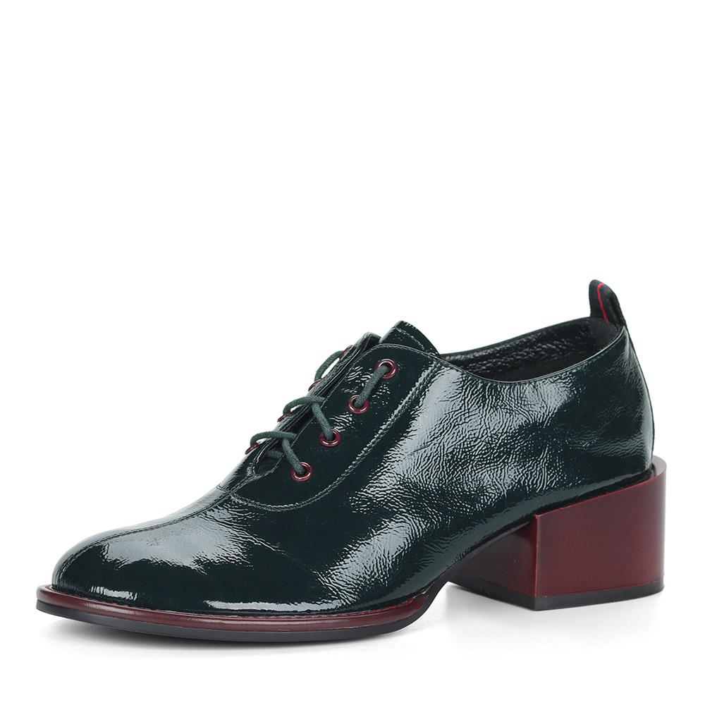 Зеленые лаковые туфли на устойчивом каблуке