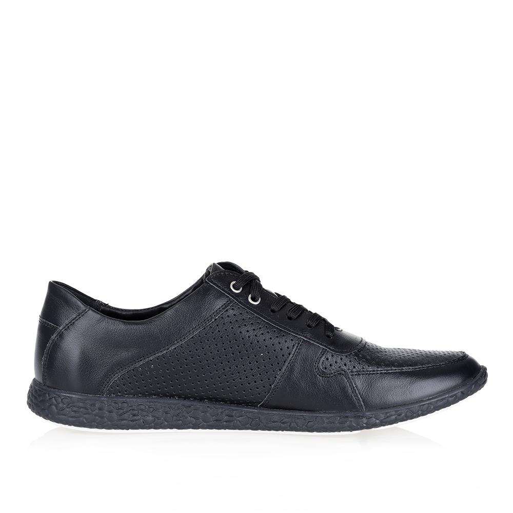 Черные кожаные кроссовки2