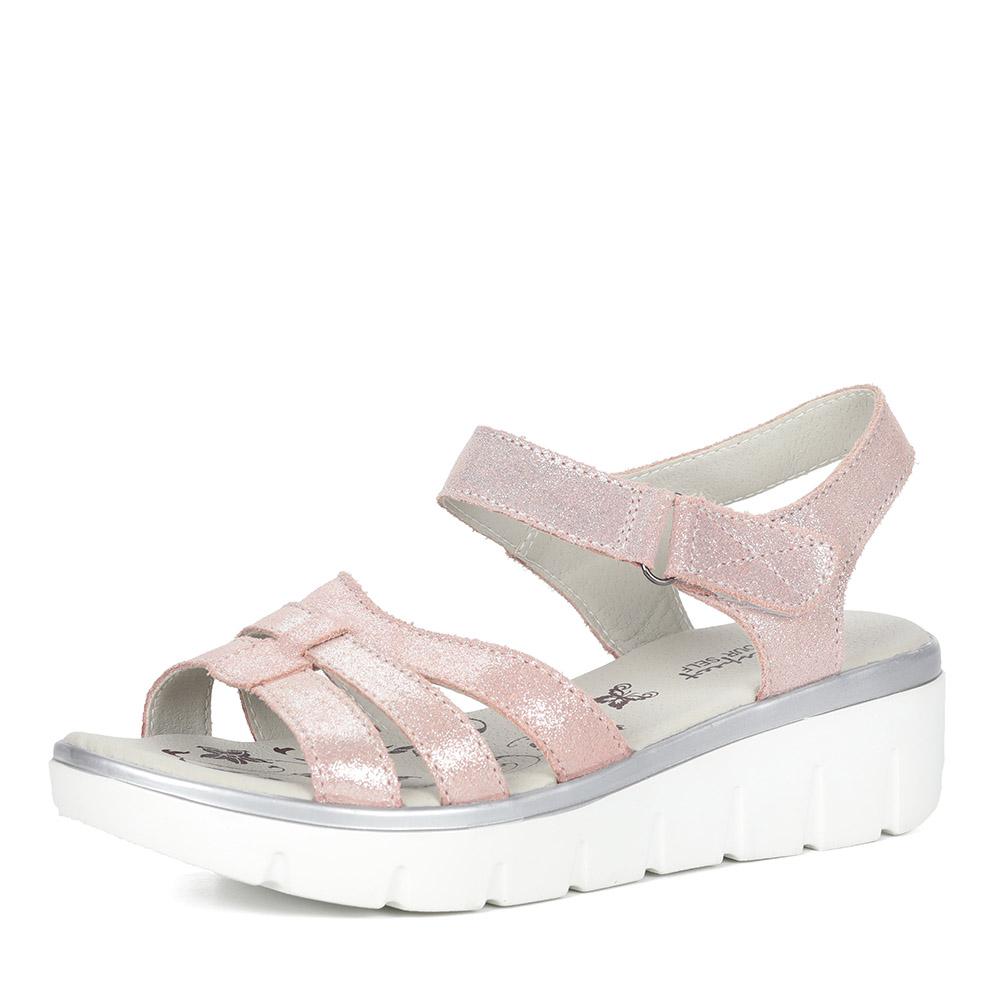 Розовые кожаные сандалии фото