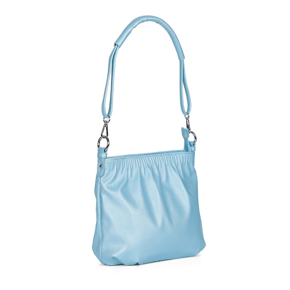 Голубая сумка на плечо из экокожи фото