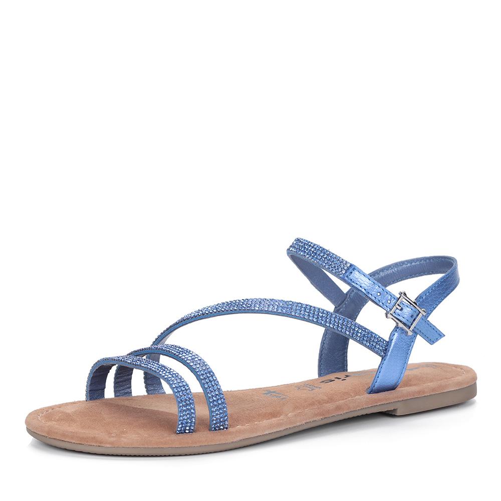 Синие сандалии с тонкими ремешками фото