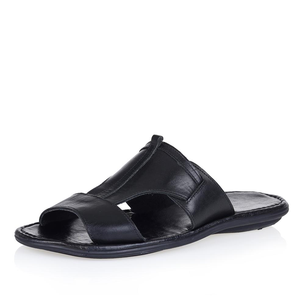 Купить со скидкой Минималистичные чёрные кожаные пантолеты