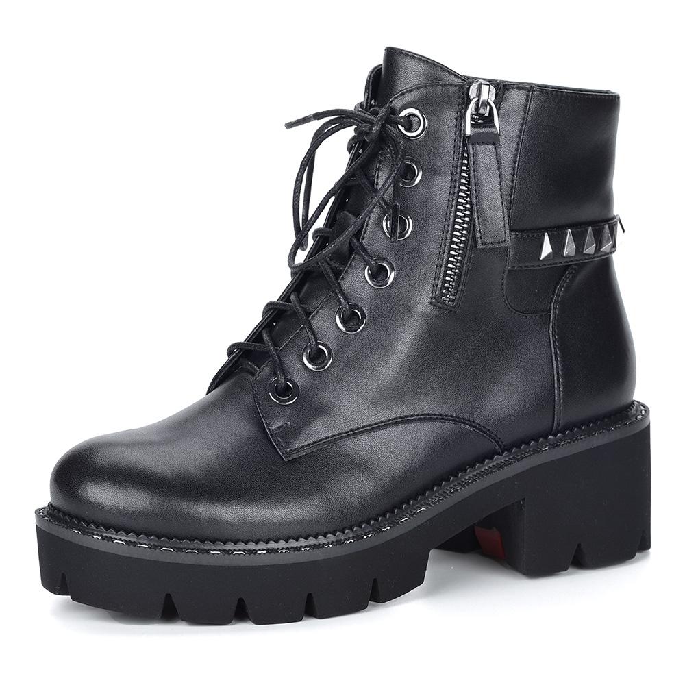 Черные кожаные ботинки из кожи на утолщенной подошве