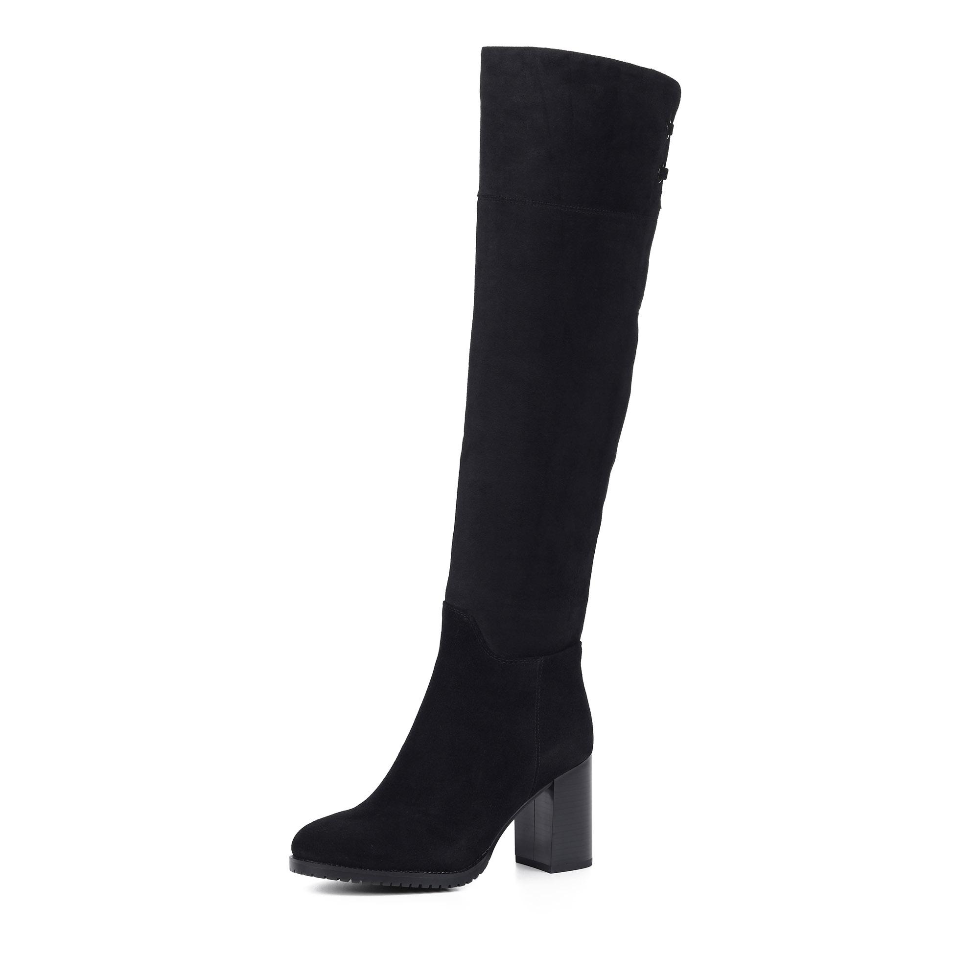 Черные ботфорты из велюра на каблуке