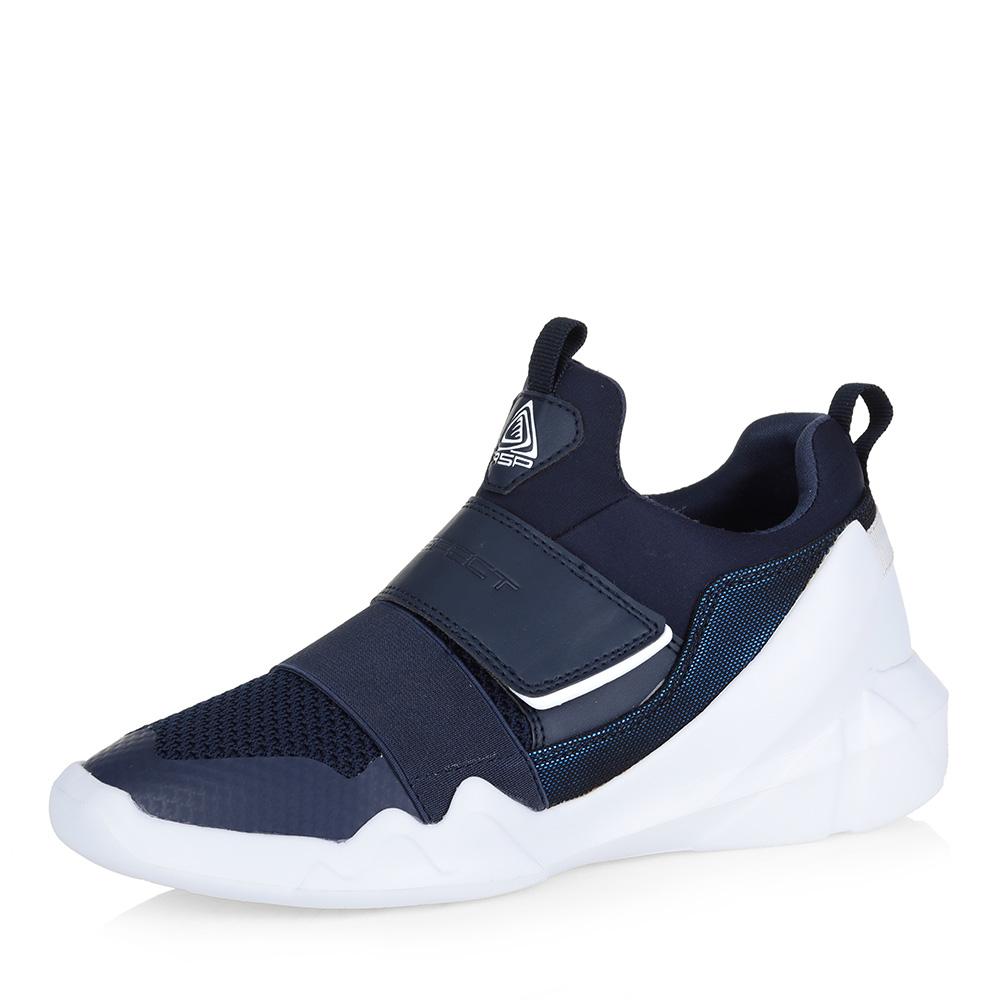 Синие кроссовки с эластичной лентой фото