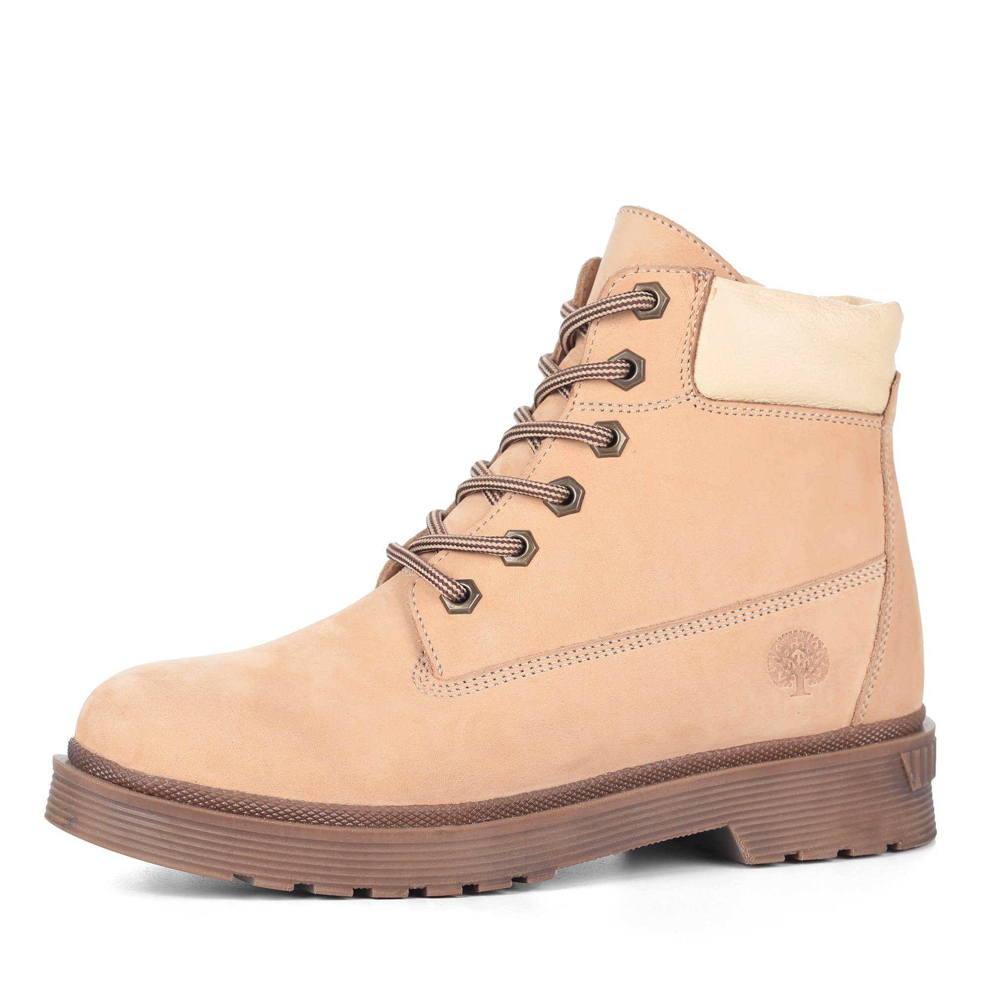 Бежевые ботинки из нубука на шерсти