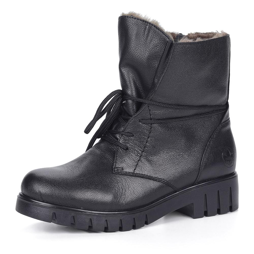 Черные ботинки из кожи на шнуровке на меху