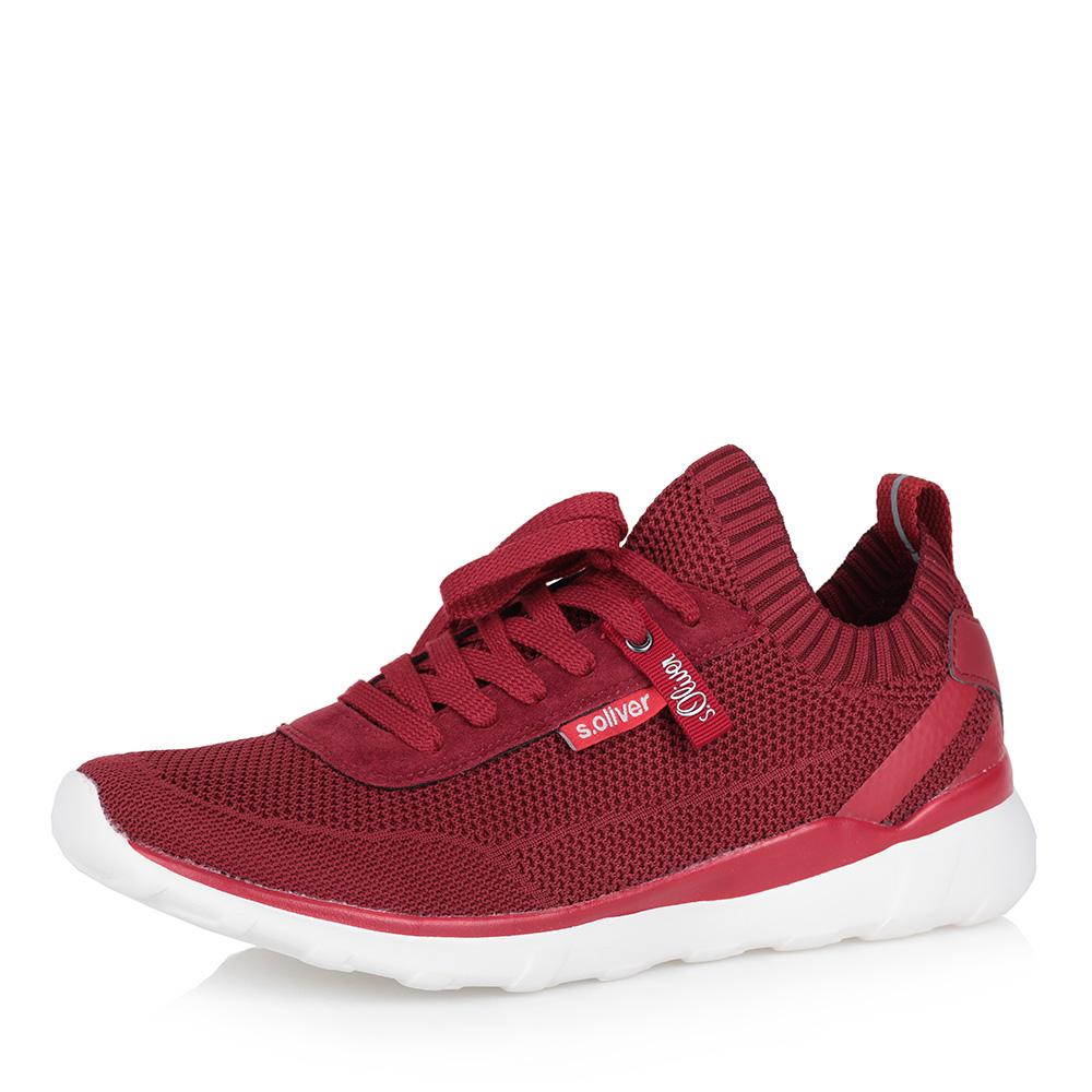 Красные кроссовки из текстиля фото