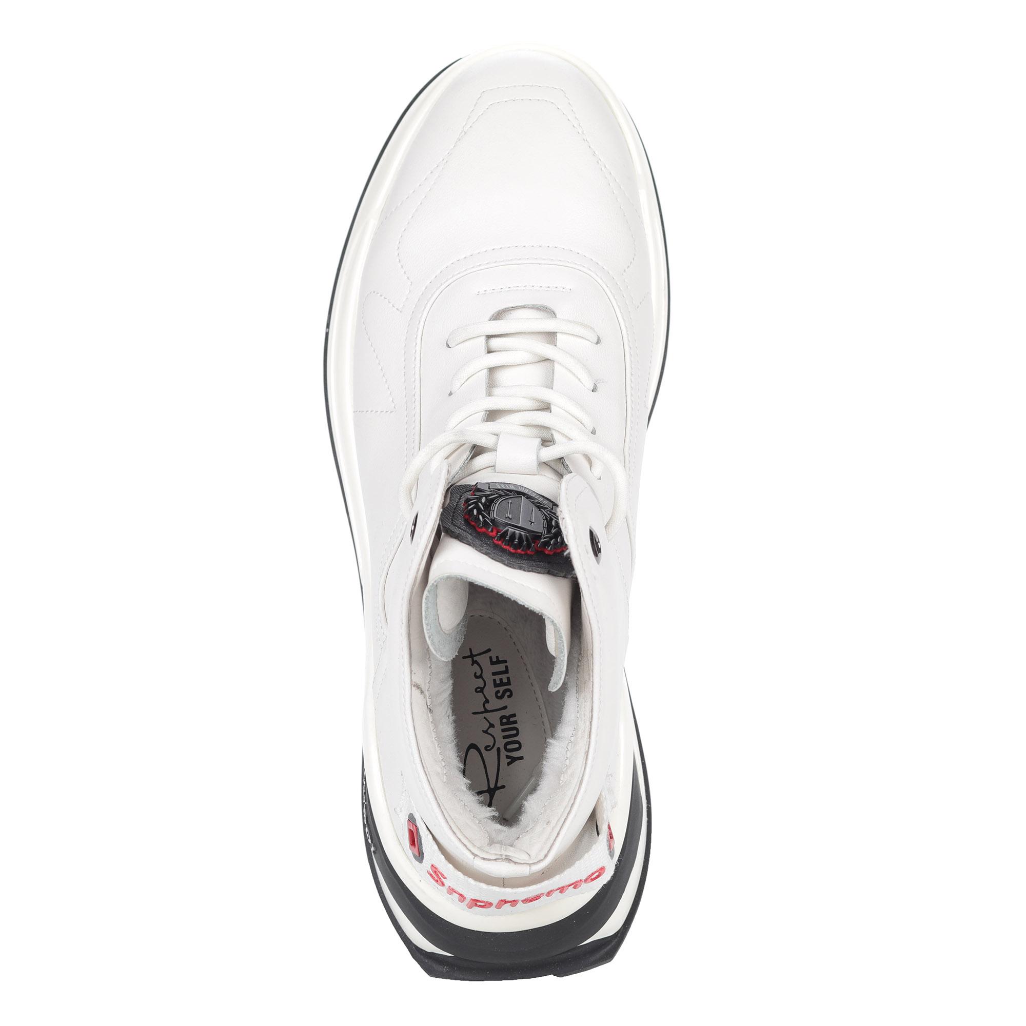 Белые кроссовки из кожи на шнуровке3