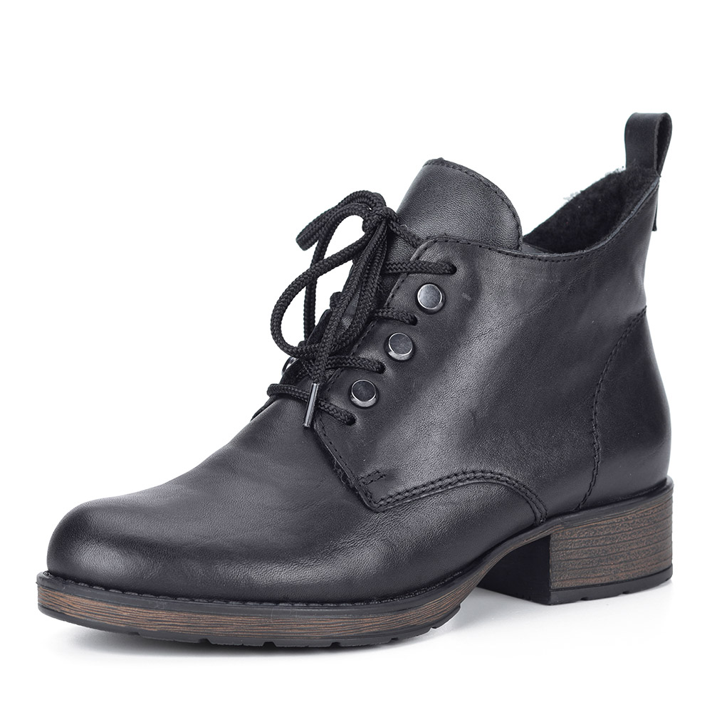 Черные ботинки на шнуровке из экокожи