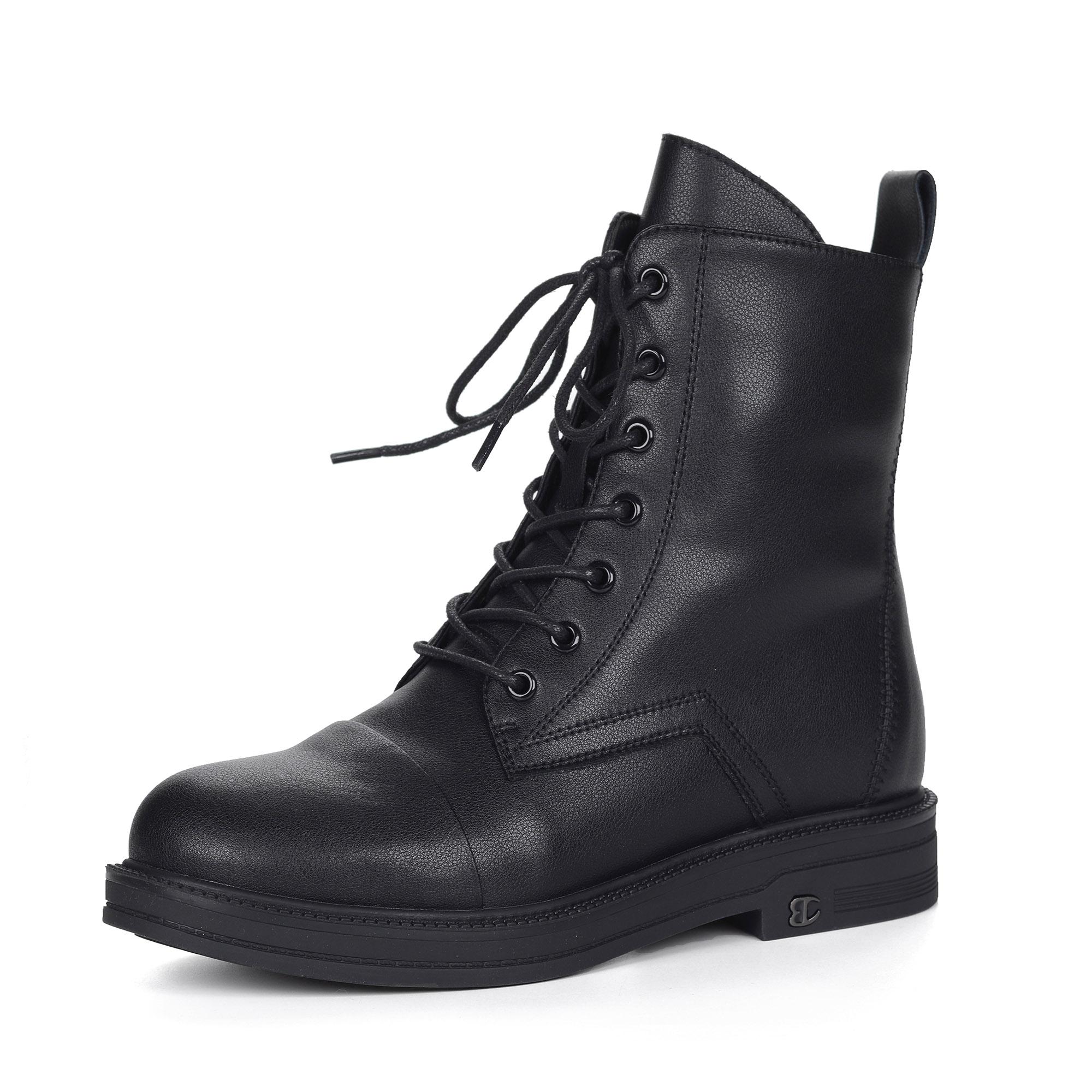 Черные ботинки из кожи на подкладке из натуральной шерсти