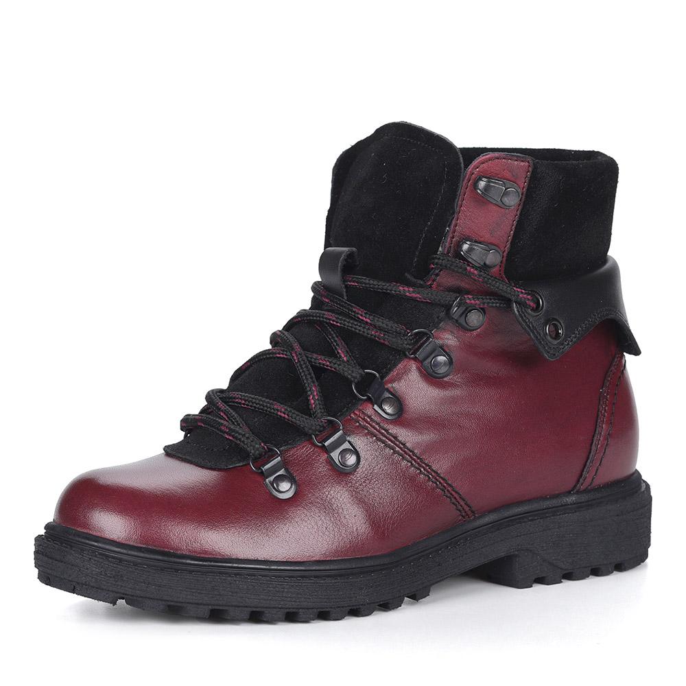 Бордовые лаковые ботинки на шнуровке