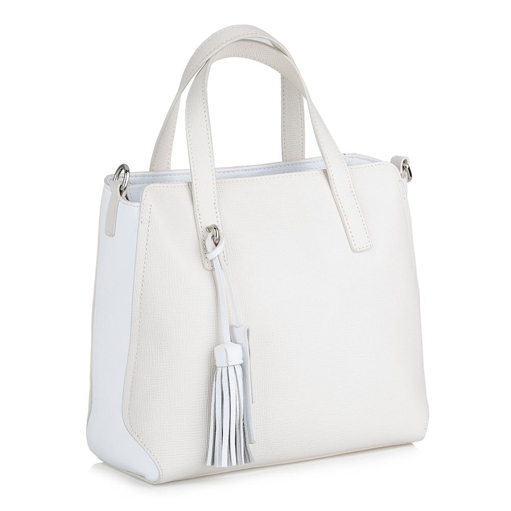 Бело-бежевая кожаная сумка с дополнительной ручкой фото
