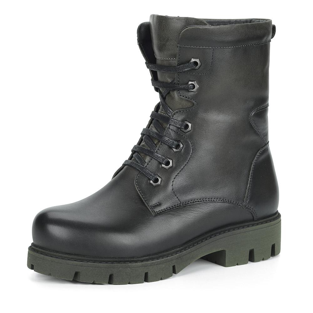 Зеленые ботинки на шнуровке из кожи