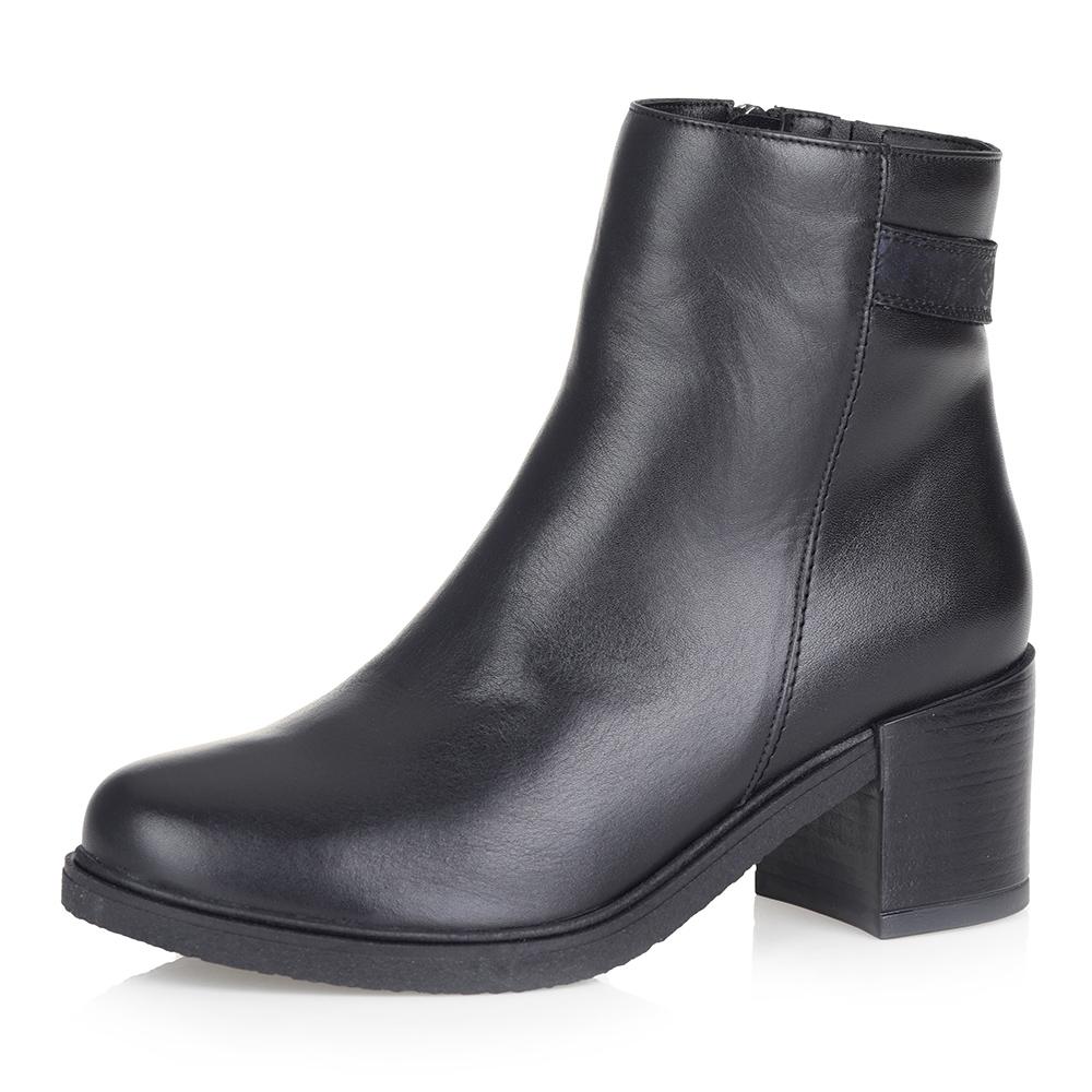 Черно-синие кожаные ботинки на меху