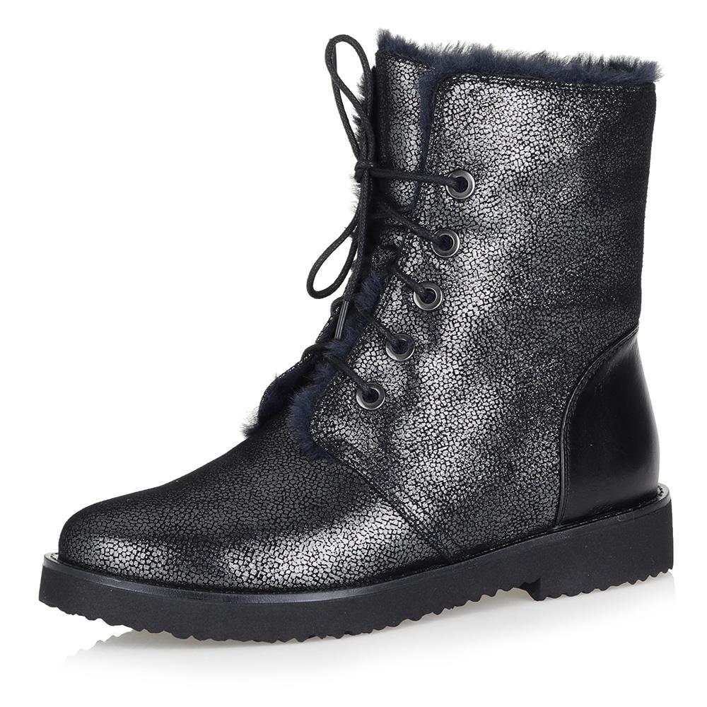 Металлизированные ботинки на натуральном меху