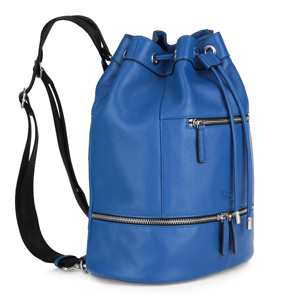 Синий рюкзак из кожи