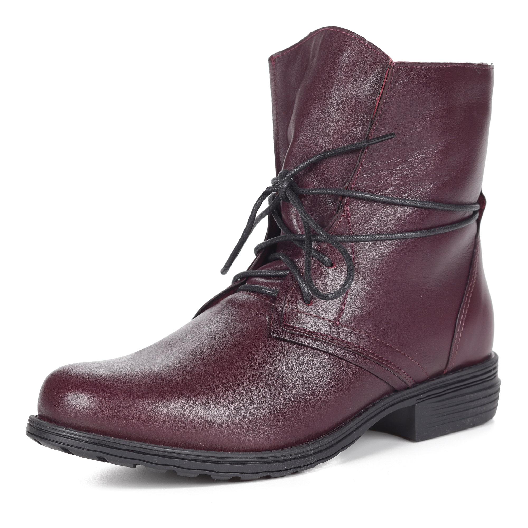 Бордовые ботинки из кожи на шнуровке